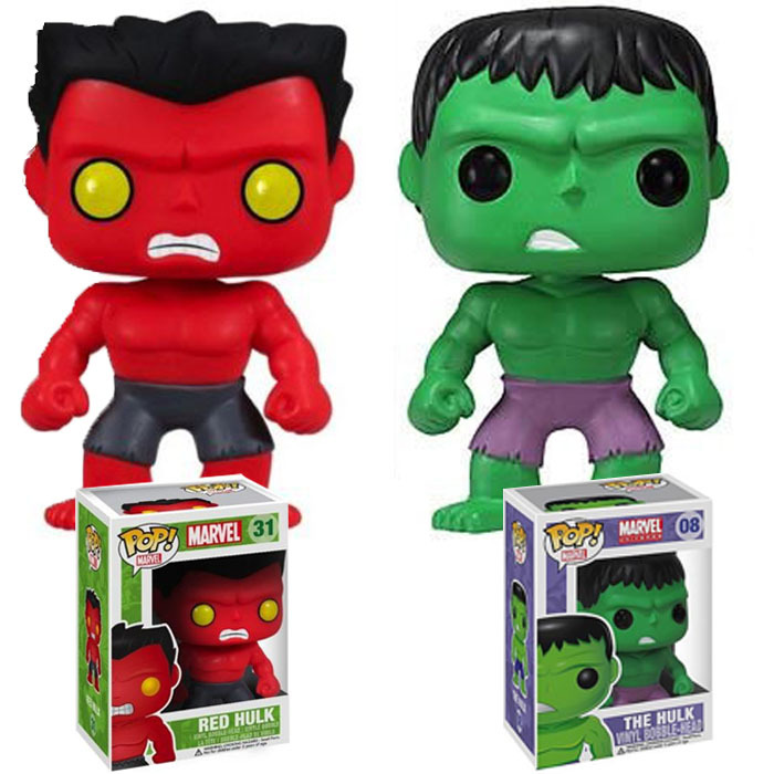 2pcs/lot Funko Pop Red Hulk Green Hulk Action Toy Figure Bobble Head Wacky Wobbler PVC Action Figure Collection Toy  funko pop marvel the hulk no 08 red hulk no 31 iron man vinly bobble head pvc action figure collectible model toy gift for kids