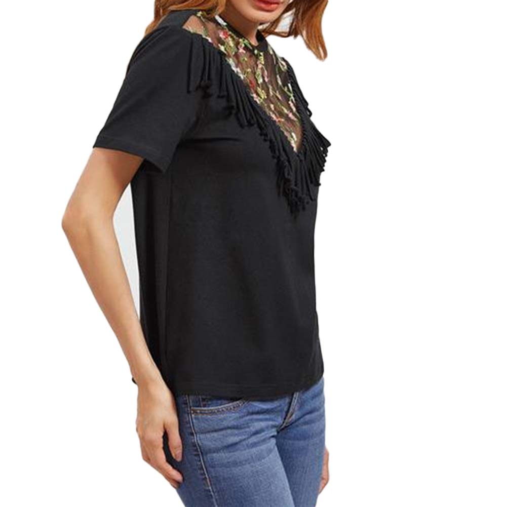 2017 Fashion Black Sheer Mesh Tops for Women Summer Short Sleeve O-neck Casual Loose Tassel Floral Embroidery Ladies T-Shirt