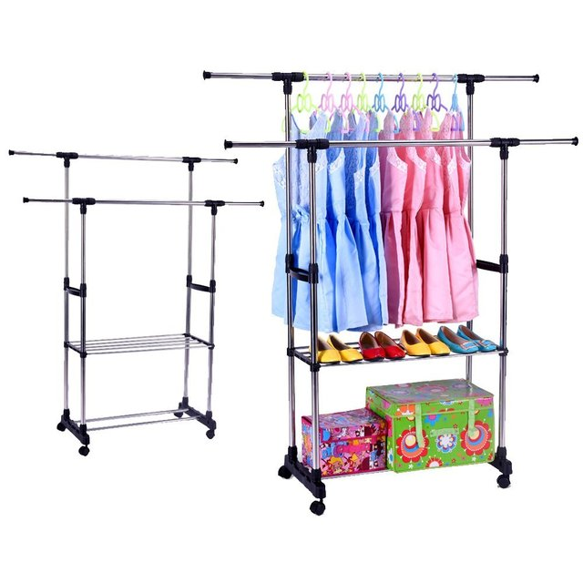 Double Rail Clothes Rack Adjustable Garment Rack -with Wheels 2 Tiers Storage Shelves  sc 1 st  AliExpress.com & Double Rail Clothes Rack Adjustable Garment Rack with Wheels 2 Tiers ...