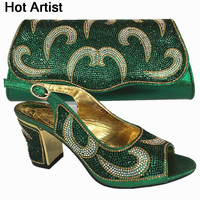 Hot Artist Nigeria Style Shoes And Bags Set For Party In Women Italian Rhinestone Woman Pumps Shoes And Bag Set For Party BL735C