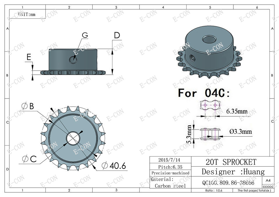 10mm Bore 20 Teeth 20T Metal Pilot Motor Gear Roller Chain Drive Sprocket