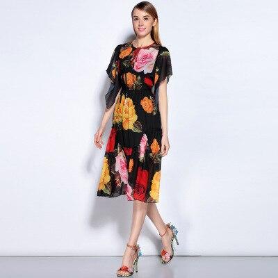 O Meilleure Manches Printemps Femmes Style Courtes Casual Ruches Fleurs D'été Date Lâche 2017 Europe cou À Dress Et Vintage Qualité fOwqaSY