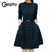 A Line Green Plaid Dress 2018 Autumn Waist Belt Slim Plaid Dresses Puff Sleeve Plaid Dress