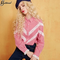 Emitiral New 2018 Spring Women Lace Blouses Long Sleeves Plaid With Lace Female Tops Casual Loose