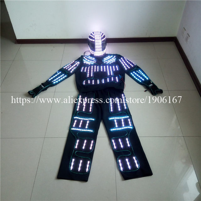 Online Shop RGB LED Costume LED Clothing el wire costumes LED Robot ...