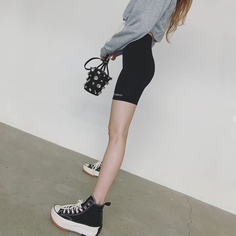 Women Stretch Biker Bike Shorts Workout Spandex Knee Length Short Trousers Women Summer Slim Shorts Black
