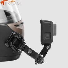 Base de suporte de capacete para frente, fivela em forma de j, suporte de montagem para gopro hero 5 6 7 4 xiaomi kits yi 4k sjcam go pro