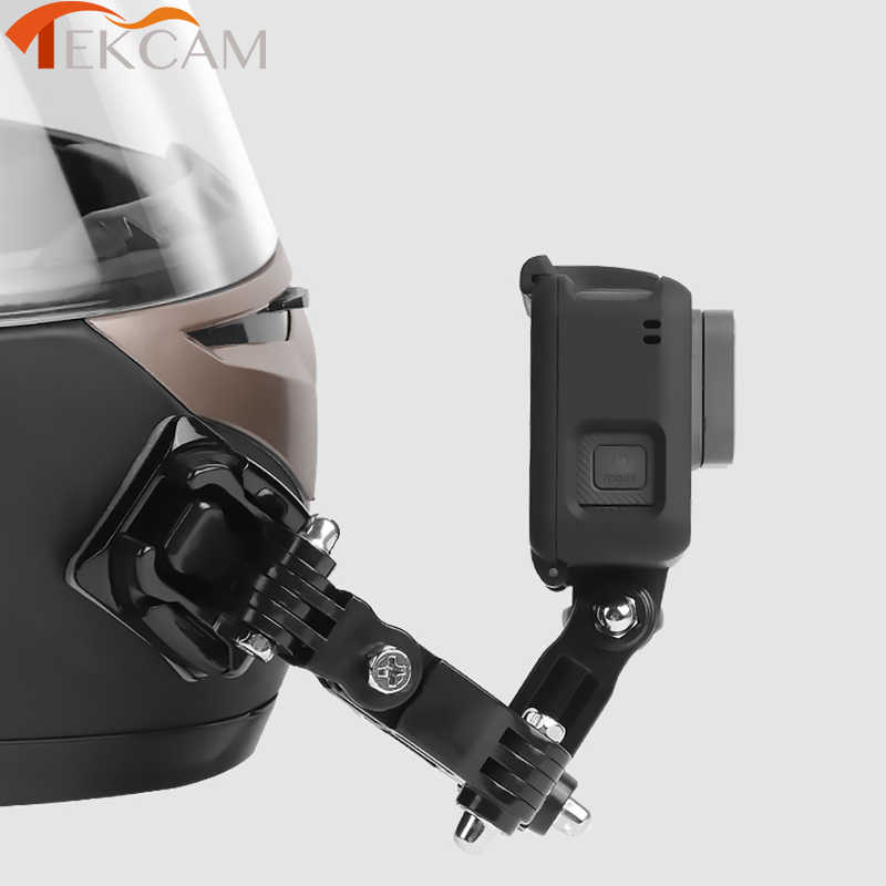 Conjunto de accesorios para casco en la parte delantera con hebilla en forma de J, soporte de montaje para GoPro Hero 5 6 7 4 Xiaomi Yi 4K SJCAM Go Pro Kits