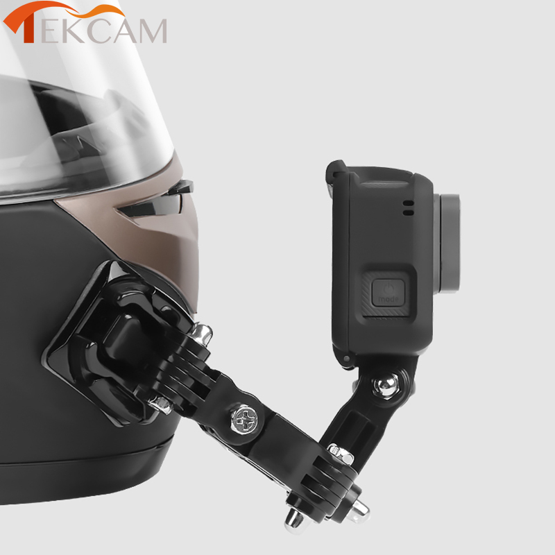 Front Side Helmet Accessories Set J shaped Buckle Base Support Mount for GoPro Hero 5 6 7 4 Xiaomi Yi 4K SJCAM Go Pro Kits-in Sports Camcorder Cases from Consumer Electronics