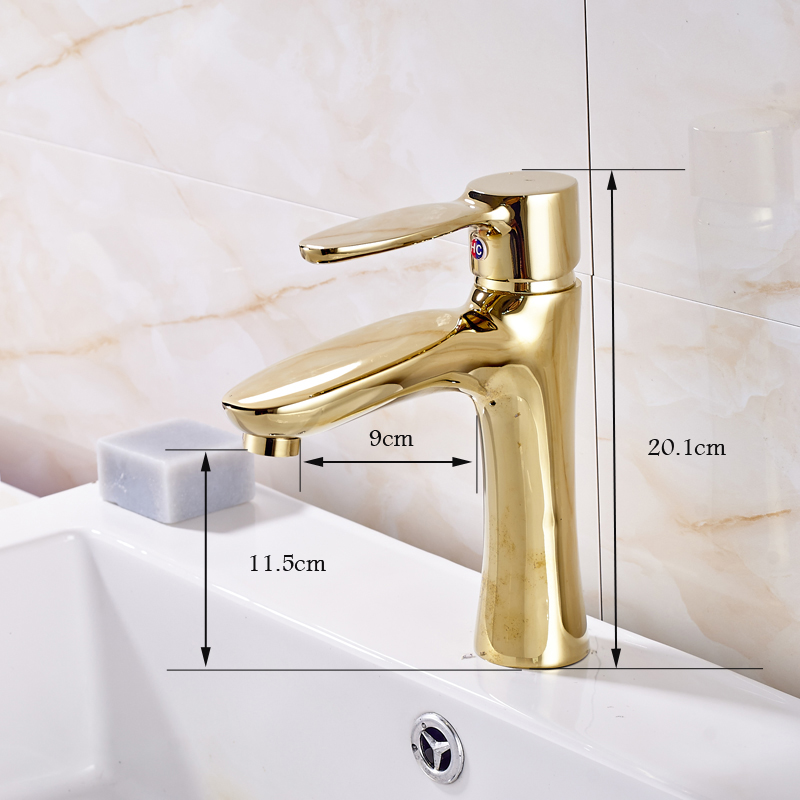 Free Shipping Golden Hot and Cold Water Deck Mounted Bathroom Sink Faucet Single Hole/ Handle Basin Mixer Tap цена и фото