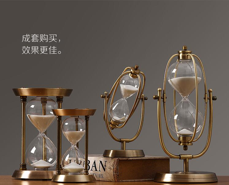 Furniture decoration metal hourglass decoration modern simple north European style living room decoration soft decoration in Bottles Jars Boxes from Home Garden
