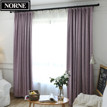 NORNE Solid Faux Linen Window Blackout Curtain Thermal Insulated Drapes Noise Blocking Curtains Blinds for Bedroom Living Room norne hollow star thermal insulated blackout curtains for living room bedroom window curtain blinds stitched with white voile