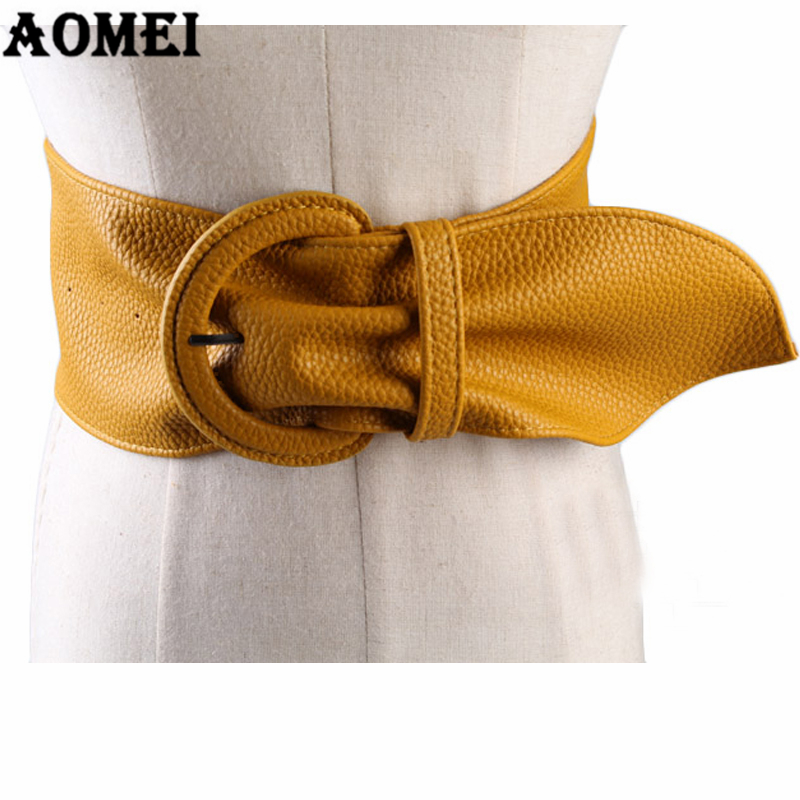 Women Fashion Wide Leather Belts For Dresses Blouse Buckle Ladies Western Trending Design Black Yellow Red Camel Long Belt
