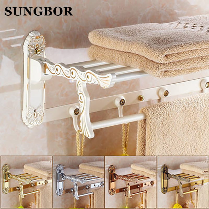 Buckingham Palace retro Continental European retro gold plus white folded towel rack bathroom towel hanging shelving metal shelf continental gold product towel rack bar activities multi pole design