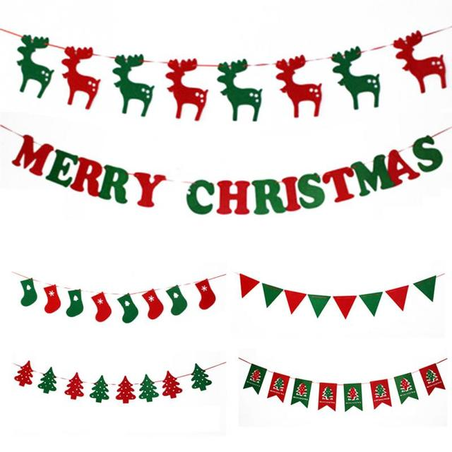 5 styles merry christmas garland bunting banner christmas party decoration party photo prop booth new year