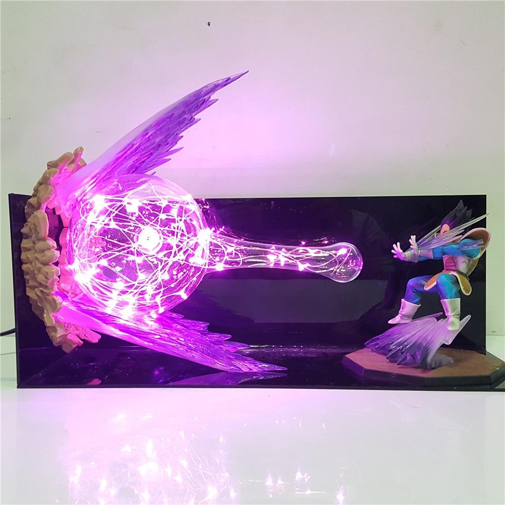 Lampara Dragon Ball Z Vegeta Action Toys Figure Galick Gun Led Night Light 3D Super Saiyan Lighting Anime Table Lamp Decor Lampe