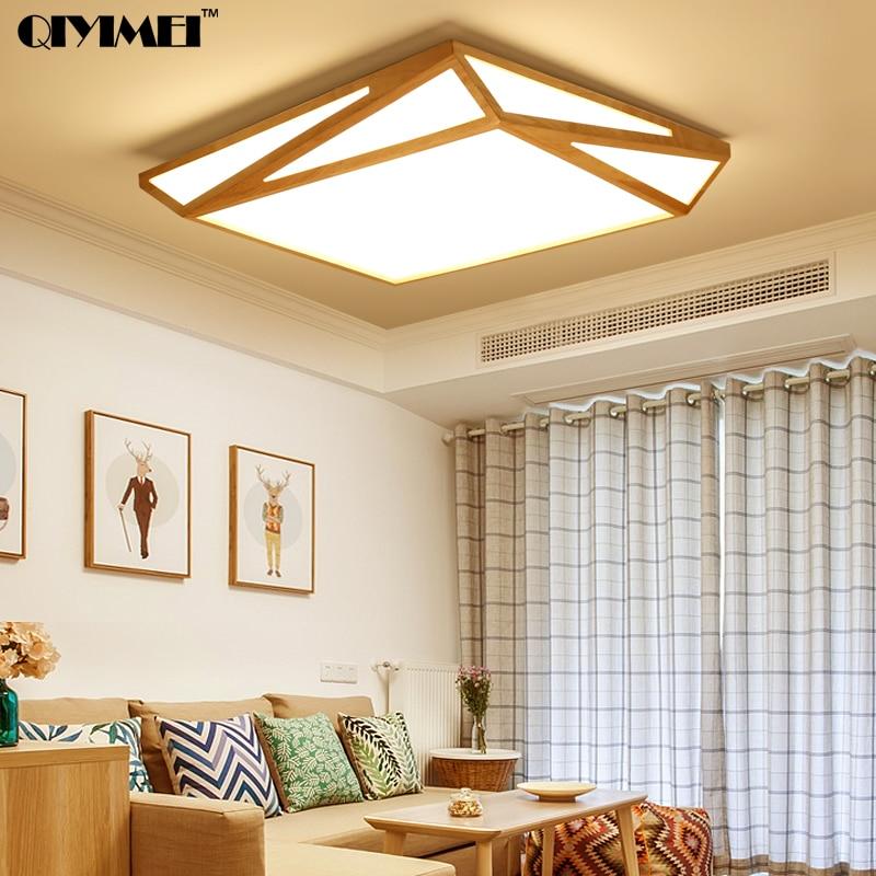 Us 2098 Nowy Projekt Nowoczesne Lampy Sufitowe Led Z Kwadratowym Rama Z Drewna Lamparas Lampy Sufitowe Dla Sypialnia Jadalnia Pokój Dzienny Ac90