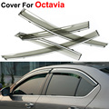 4pcs/lot Car Styling Awning Shelters Rain Sun Window Visors For Skoda Octavia 2014 2015 Covers Stickers Accessories Shield