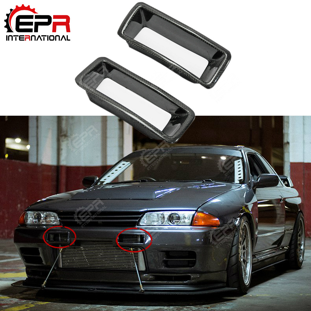 For Nissan R32 Nismo N1 Carbon Fiber Bumper Vents Front Cold Air Intake Duct Racing Kit For Nissan Skyline R32 GTS GTR