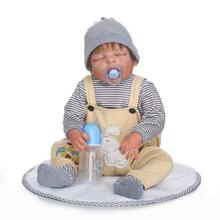 22 inch Sleeping Bebe Reborn Doll 55cm Full Silicone Vinyl Realistic Baby Boy Doll with Pacifier Kids Play Toy Doll Xmas Gift