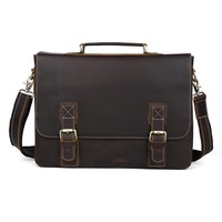 TIDING Large Leather Briefcases 16 Inch Laptop Bag Cowhide Leather Vintage Style Cross Body Shoulder Bag