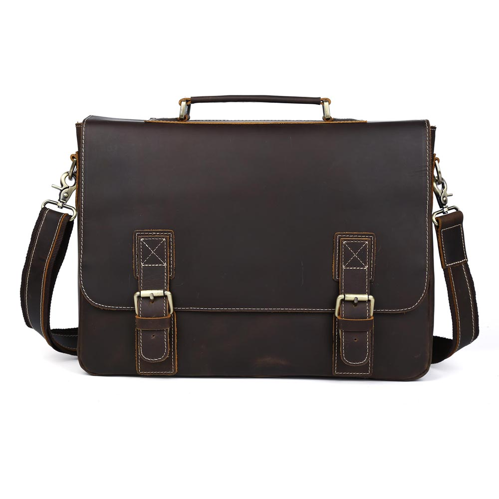 TIDING Large Leather Briefcases 16 Inch Laptop Bag Cowhide Leather Vintage Style Cross Body Shoulder Bag P8069