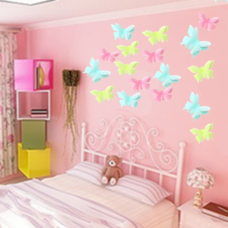 6pc Luminous Double Layer Butterflies Wall Sticker For Kids Rooms Home Decor Glow In The Dark Art Fluorescent Adhesive Stickers