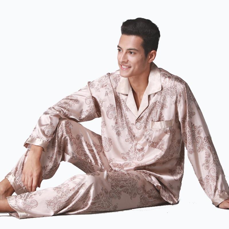 2018 Spring NEW  2PC Pajamas Sets Male Satin Silk Sleepwear Men Long-Sleeve Pyjama Pants Sets Softness Faux Silk Pijamas