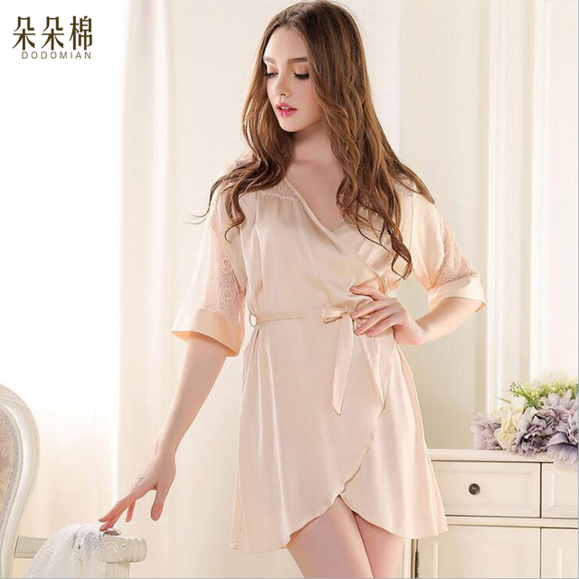 Summer 2016 Women Sexy Silk Pajamas Fashion Solid Color Sleep set V-neck Short-sleeves Silk Plus Size Lounge Female Sleep Tops