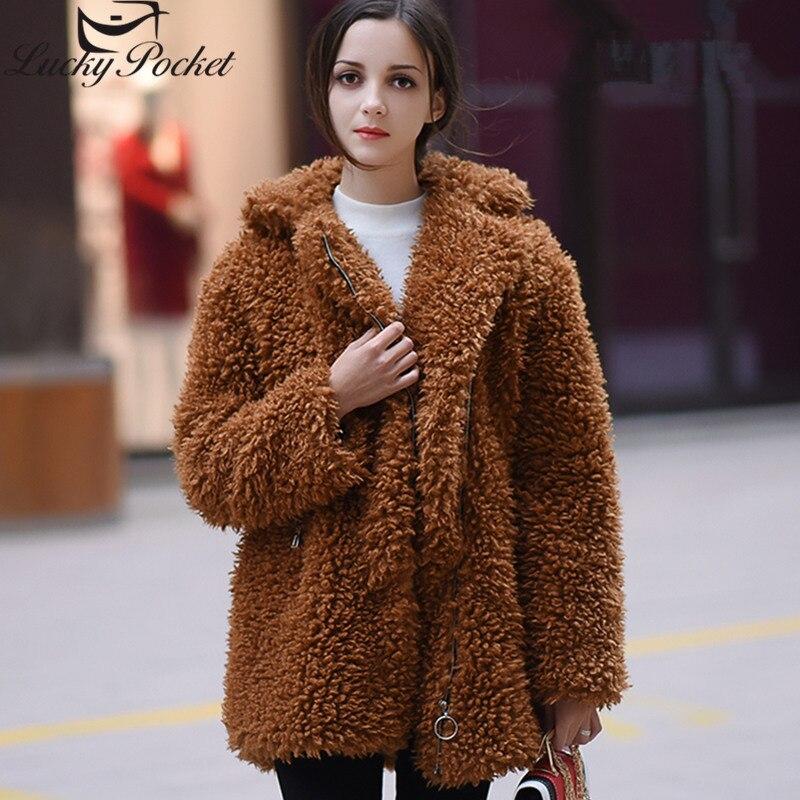 Kadın Giyim'ten Yapay Kürk'de Kadınlar Kış Yeni Kalın Sıcak Faux Kürk Ceket Kadın Moda Turn Down Yaka Lambswool Coat Uzun Kollu Gevşek Kabarık Parkas z623'da  Grup 1