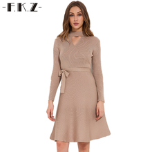 Фкз водолазка вязаное платье Для женщин элегантные с длинным рукавом Пояса однотонные зимние Bodycon Платье Осень пикантные Платье для вечеринки 7735