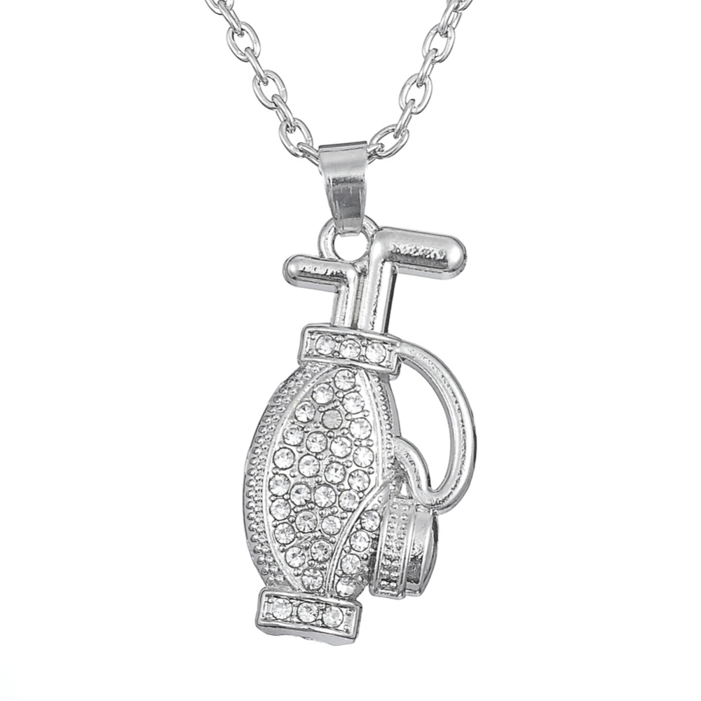 Alloy Rhodium White Crystal Golf Bag Sports Necklace