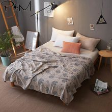 2019 Elephant Bohemian Brown Thread Towel Blankets Summer Knitted Quilt Twin Queen Cotton Fabric Air-Condition Nap Quilt(China)