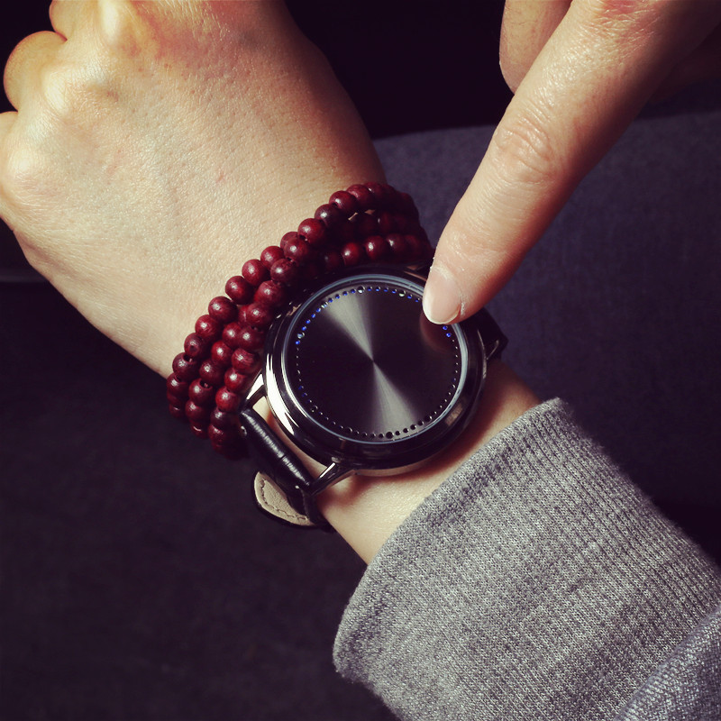 Creative Personality Minimalist Leather Normal Waterproof LED Watch Men And Women Couple Watch Smart font b