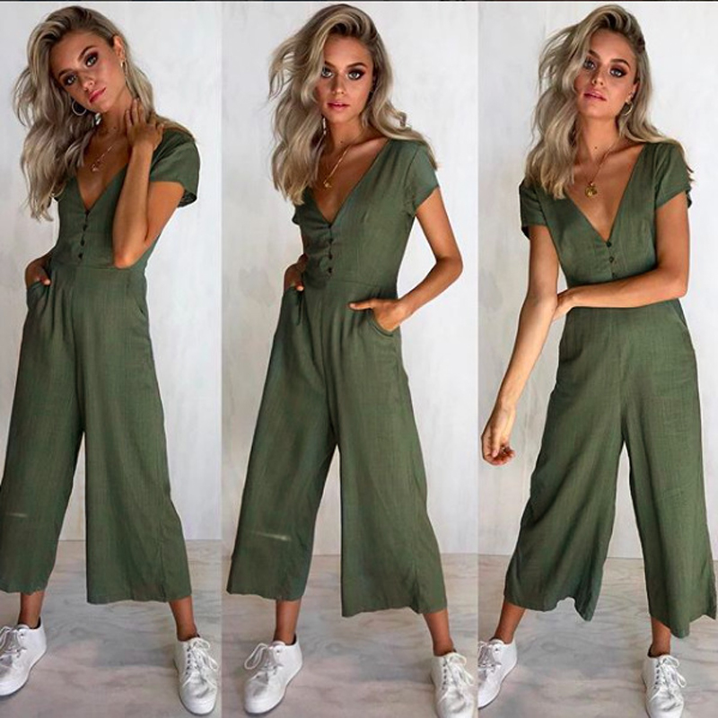 V Neck Short Sleeve Summer jumpsuits for women 2018 Casual Buttons High Waist Wide Leg R ...