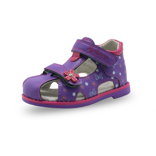 Apakowa Summer Classic Fashion Children Shoes Toddler Girls Sandals Kids Girls PU Leather Sandals Butterfly with Arch Support 5