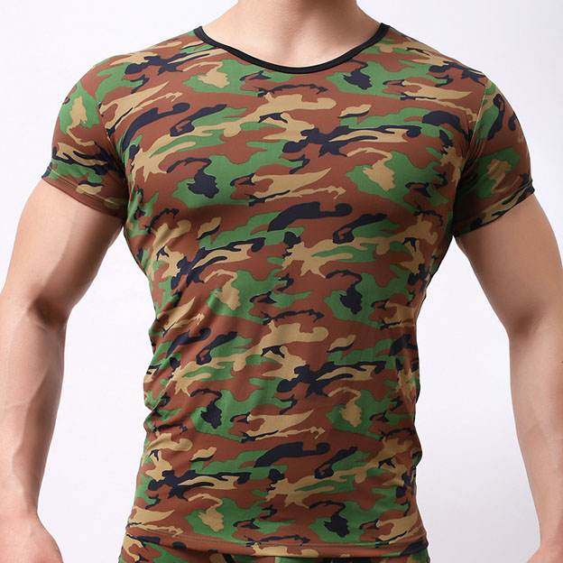 Brand New Elastic Mens T shirts Breathable Camouflage Tight Slim fit Summer Male Sexy T-shirts Short Sleeves O-Neck