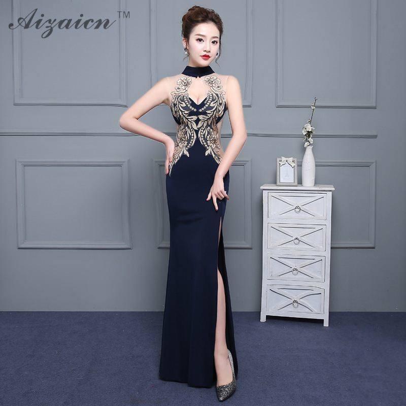 Flower Elegant Long Qipao Modern Embroidery Mermaid Chinese Style Evening  Dress Fish Dresses Slim Split Cheongsam 62ce2eb8f9b4