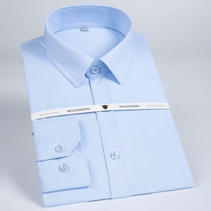 Men's Pocket-less Design Solid Twill Dress Shirt Formal Business Long Sleeve Standard-fit Work Office Basic Button-up Shirts