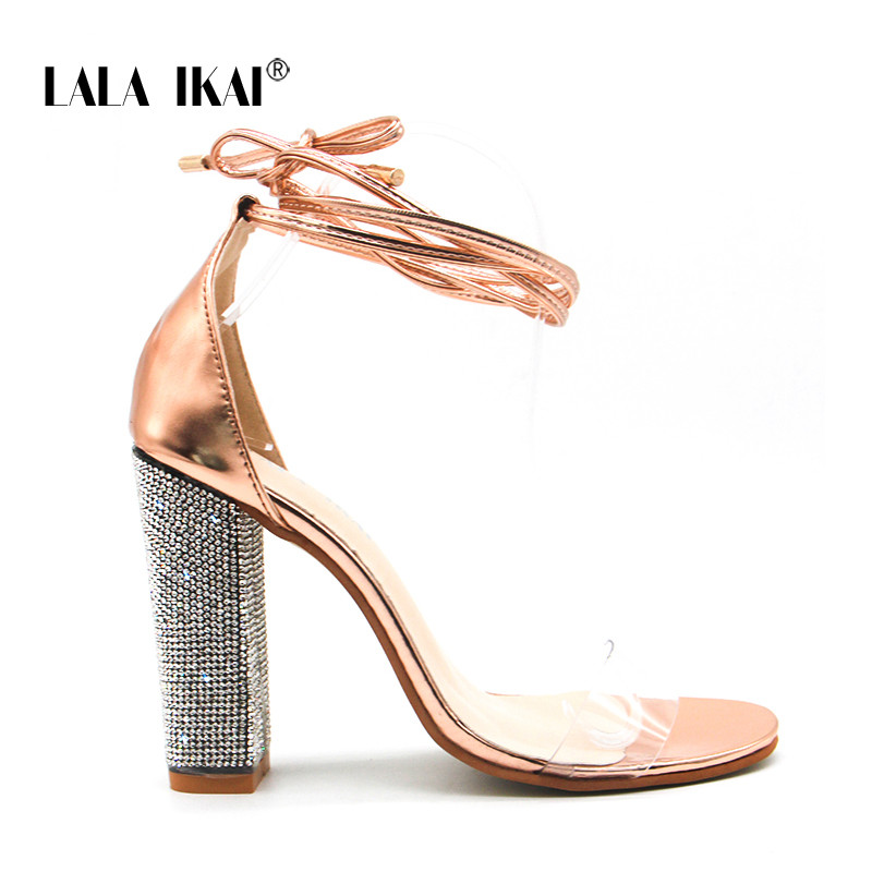 6e4702e6e9 Women Heeled Sandals Bandage Rhinestone Ankle Strap Pumps Super High Heels  10.5 CM Square Heels Lady Shoes