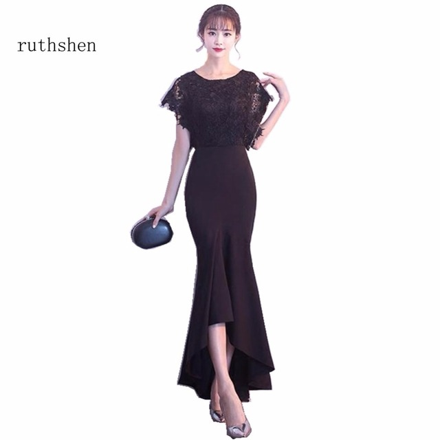 11e3d2c170 US $74.25 21% OFF|ruthshen 2018 Long Evening Dresses Black Lace Top Ruched  Mermaid Style Women Formal Vestidos Largos De Noche Evening Dresses-in ...