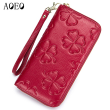 AOEO wallet women genuine leather Cowhide with 3D embossing Lucky Clover phone bag Driver License ladies Female purse
