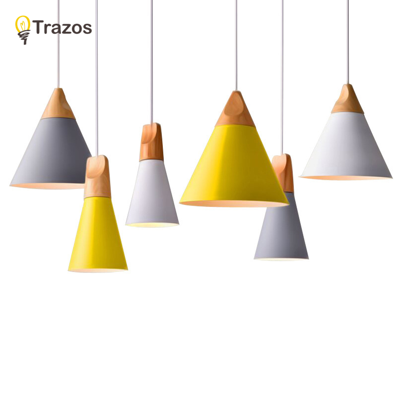 Slope lamps Pendant <font><b>Lights</b></font> Wood And Aluminum Restaurant Bar Coffee Dining <font><b>Room</b></font> LED Hanging <font><b>Light</b></font> Fixture