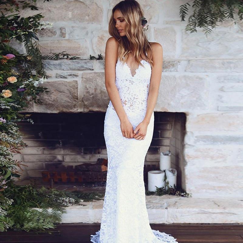 Sexy Backless Lace Beach Wedding Dresses Spaghetti Straps White Bridal Gowns 2019 Vestido De Noiva