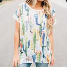Women Cactus Print Tops Tumblr O Neck Kawaii Asymmetric Cropped T-Shirts Batwing Sleeve Harajuku Ulzzang Blusas Female Bts Tees