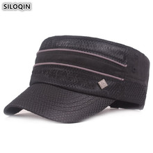 SILOQIN Mens Mesh Breathable Flat Cap Army Military Hats 2019 New Adjustable Size Fashion Dad Hat Stitching Retro Hip Hop Caps
