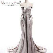 VARBOO_ELSA 2017 Mermaid Evening Dresses Sweetheart Ärmlös Sweep Train Satin Prom Dress Silver Party Evening Custom Made