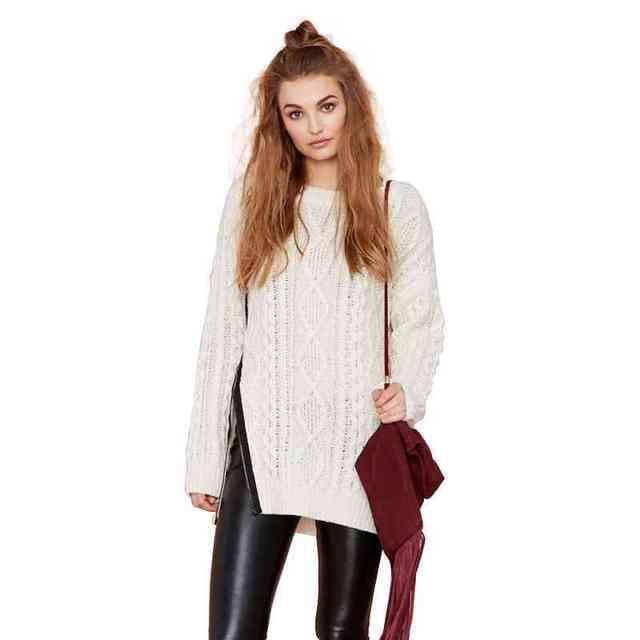 Europe Easing Plus Size Knit Sweater Right Side Slit Zipper