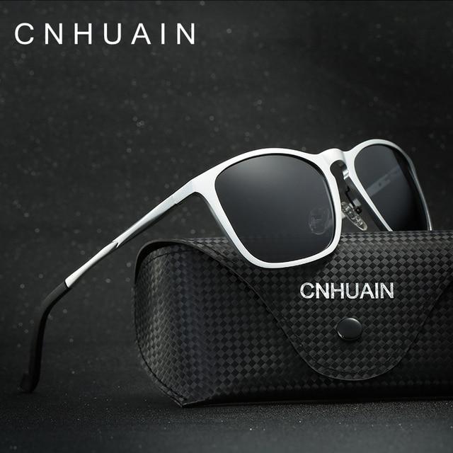 CNHUAIN Grade Aluminum Magnesium Polarized Sunglasses Men Brand Designer Driving Mirror Sun Glasses For Men Retro Male oculos