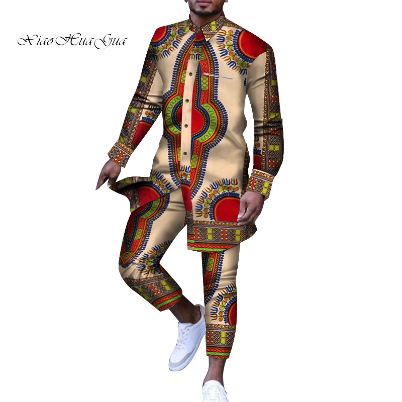 Men Outfit African Print Dashiki For Men Casual Top Tee Shirts And Trousers Pant Set Plus Size African Clothing Men Set WYN778